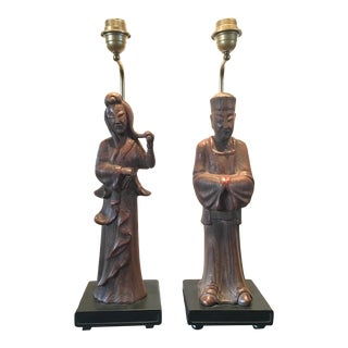 Hollywood Regency James Mont Manner Asian Style Wood Lamps - a Pair For Sale