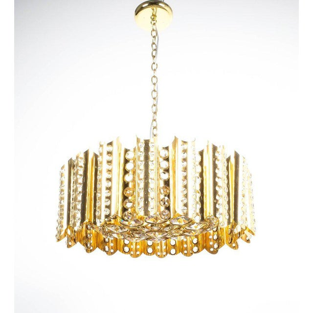 Gold Large Gold-Plated Brass Glass Chandelier Lamp Attributed to Gaetano Sciolari For Sale - Image 8 of 9