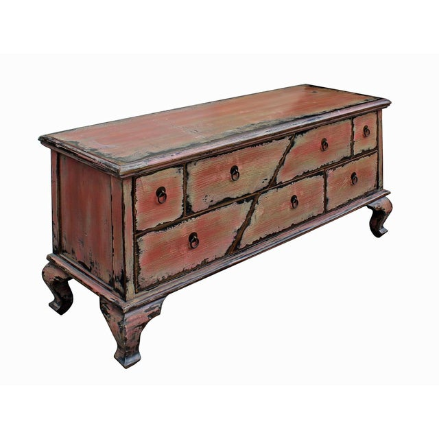 Chinese Pink Distressed Cabinet - Image 4 of 9