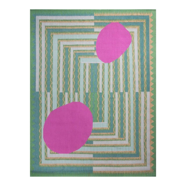 Scandinavian Green and Pink Flat Weave Wool Rug - 7′10″ × 10′4″ For Sale