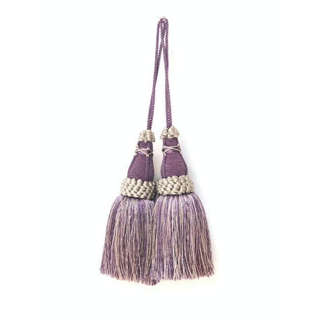 English Key Tassels in Amethyst and Gray With Ruche Trim - a Pair For Sale - Image 3 of 12