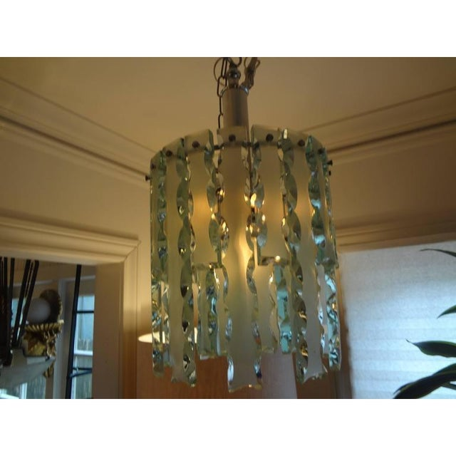 1960's Italian Zero Quattro -Fontana Arte Frosted Glass Lantern or Chandelier For Sale - Image 9 of 12
