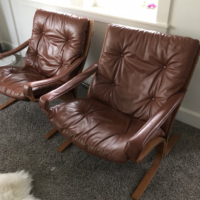 Ingmar Relling Vintage Mid Century Ingmar Relling Westnofa Leather Armchairs- a Pair For Sale - Image 4 of 10