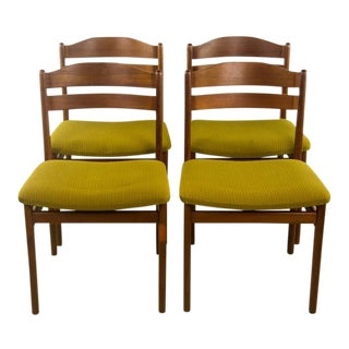 Danish Mid-Century Modern Walnut & Green Upholstered Chairs - Set of 4