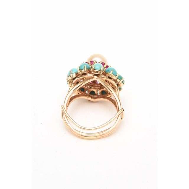 Metal Ruby, Pearl, Turquoise and 14 Karat Yellow Gold Dome Cocktail Ring For Sale - Image 7 of 8