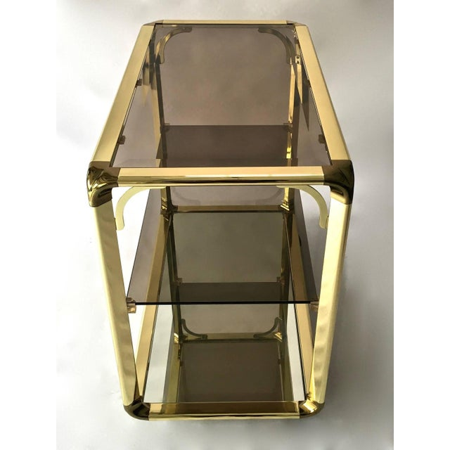 Vintage 1970s Smoked Glass & Mirror Brass Bar Cart - Image 5 of 6