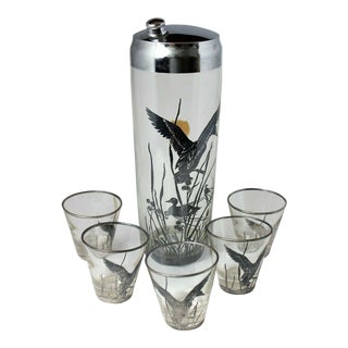 1930s Art Deco Sterling Silver Clad Rockwell Silver Co. Cocktail Shaker and 5 Glasses - 6 Pieces For Sale