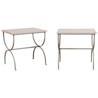 Transitional Custom Iron Occasional Curule Tables With Stone Tops - a Pair For Sale