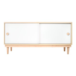 Lukka Modern Kids Credenza Console in Maple With White Finish For Sale