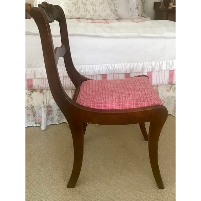 French Antique Hand Carved Rosette Floral Back Mahogany Chair For Sale - Image 3 of 6