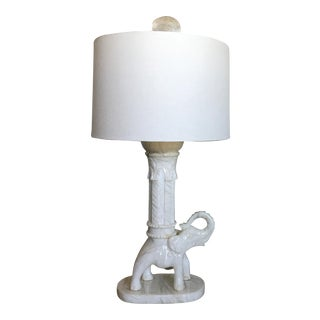 Oversize Marble Elephant Lamp & Shade For Sale