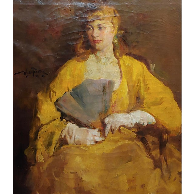 Figurative William Frederick Foster -Woman Wearing White Gloves- Oil Painting- C1940s For Sale - Image 3 of 11