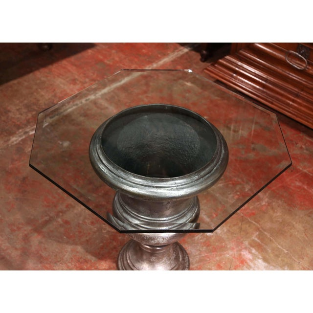 French 19th Century French Polished Cast Iron Urn Shape Table With Octagonal Glass Top For Sale - Image 3 of 8
