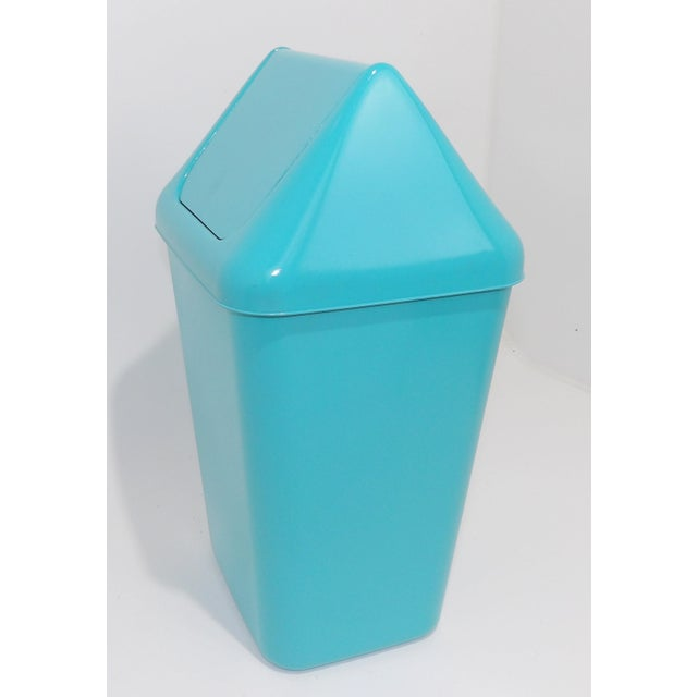 Mid-Century Modern 1980s Modern Aqua Plastic Trash Can Waste Receptacle For Sale - Image 3 of 7