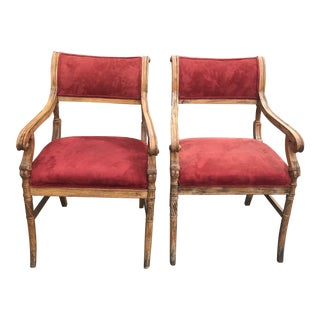 Early 20th Century Neoclassic Regency Beech Chairs- A Pair For Sale