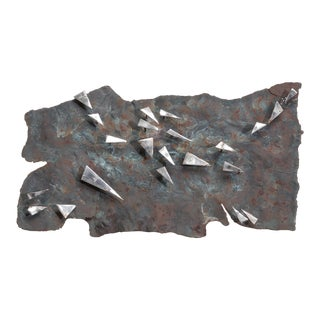 A Brutalist Metal Panel Wall Sculpture by Silas Seandel signed For Sale
