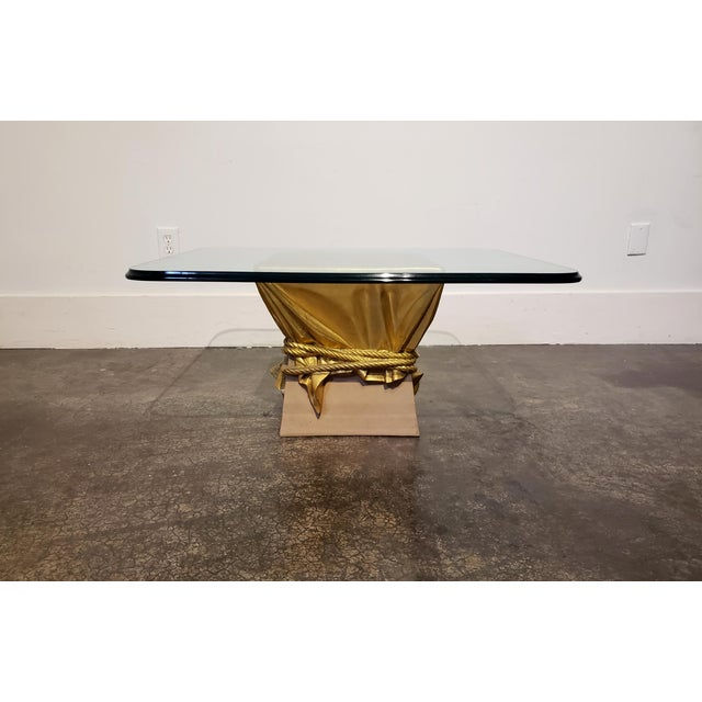 Mid-Century Modern Pink and Gold Hollywood Regency Draped Coffee Table For Sale - Image 3 of 9