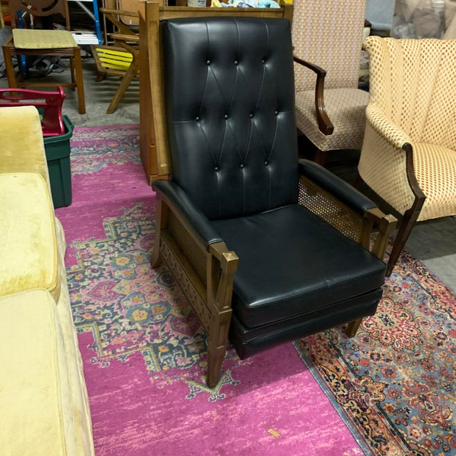 1970s Italian Provincial Burris Black Naugahyde and Caned Arm Recliner For Sale - Image 10 of 12