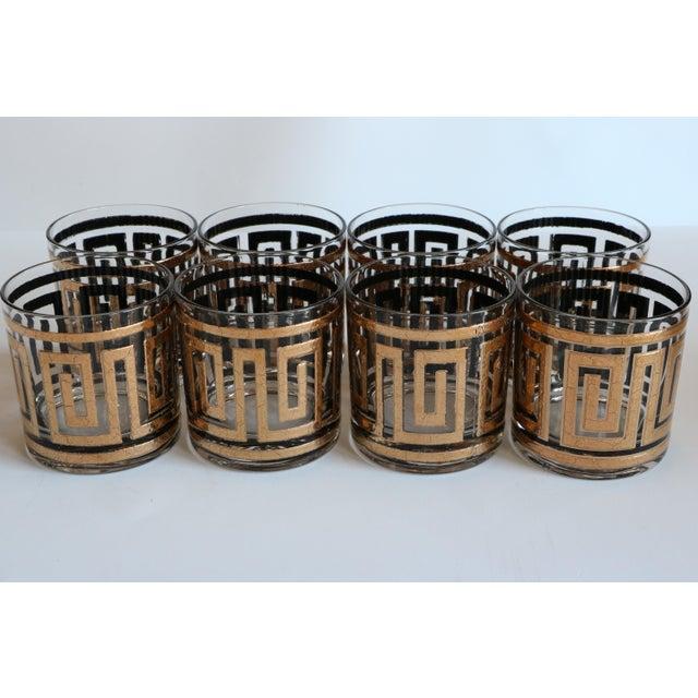 Culver Greek Key Gold Rocks Glasses - Set of 8 - Image 3 of 6
