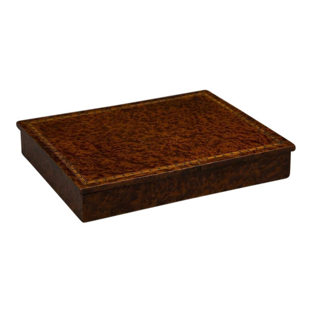 An unusual rectangular table top storage box completely sheathed in extraordinary burl walnut from England c. 1890 For Sale
