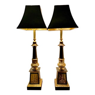 French Empire Style Brass and Black Column Lamps - a Pair