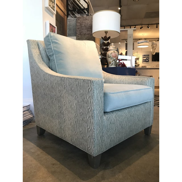"A Cox light aqua and zebra chair. Matching ottoman available. Additional measurement details: Outside - w32"" x d37"" x h37""..."