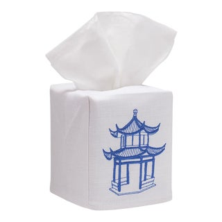 Blue Pagoda Tissue Box Cover in White Linen & Cotton, Embroidered For Sale