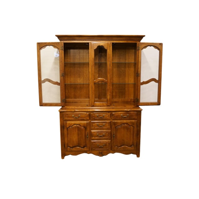 French 20th Century Traditional Ethan Allen Country French Collection Buffet With Lighted China Cabinet For Sale - Image 3 of 12