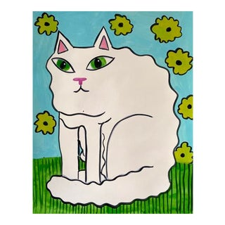 Contemporary Painting, Fluffy White Cat Painting For Sale
