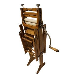 Antique Amish Hand Made Hardwood Clothes Wringer For Sale