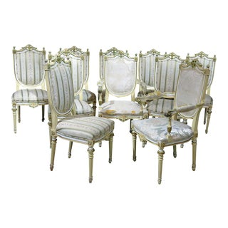 Set of 10 Louis XVI Style Dining Room Chairs For Sale