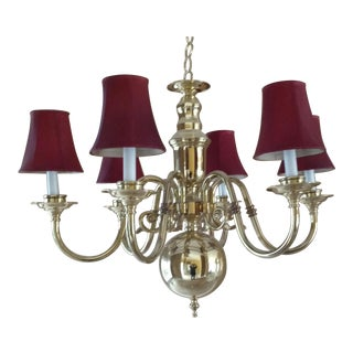 Brass 6 Arm Chandelier With Dome and 6 Shades Burgundy Red