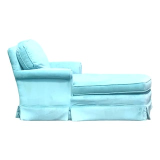 Sam Moore Mid Century Modern Tiffany Blue Velvet Chaise Lounge For Sale