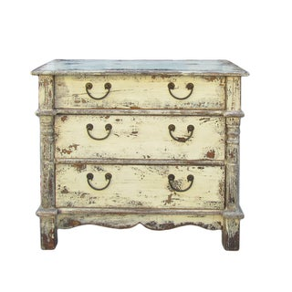 Rustic Yellow Cream Lacquer Three-Drawer Dresser
