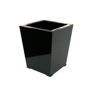 Black Lacquer and Horn Waste Paper Basket For Sale