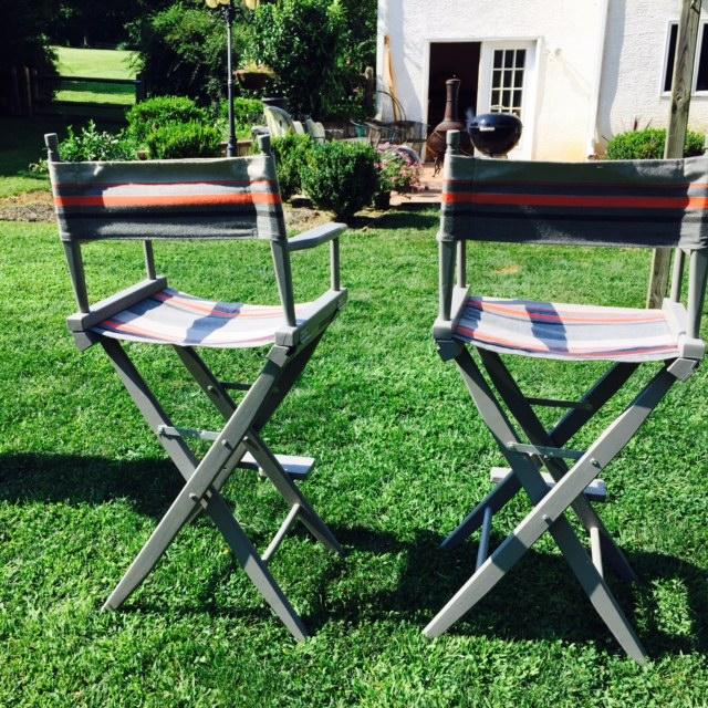 Gray and Orange Striped Director's Chairs - A Pair - Image 8 of 10