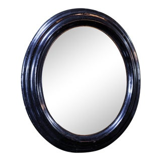 19th Century French Black and Gold Oval Ebonized Mirror