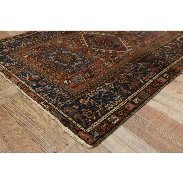 1910s Antique Persian Karaja Heriz Rug With Mid-Century Modern Style, 3'6x4'6 For Sale - Image 5 of 9