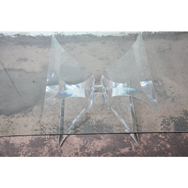 Silver Lion in Frost Sculpted Lucite and Glass Dining Table For Sale - Image 8 of 13