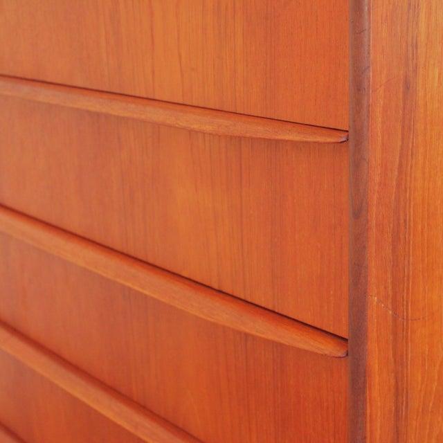 Wood Vintage Danish Teak Highboy Dresser For Sale - Image 7 of 12