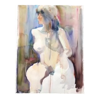 Original Vintage Female Nude Study Watercolor Lg For Sale