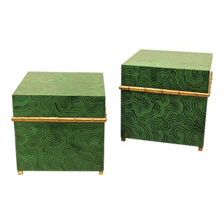 Faux Malachite Boxes - a Pair