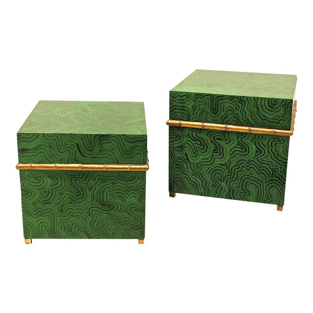 Faux Malachite Boxes - a Pair For Sale