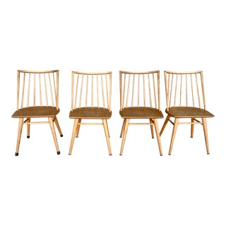 Mid-Century Modern Maple Dining Chairs by Leslie Diamond for Conant Ball- Set of 4 For Sale