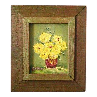 Late 20th Century Still Life with Flowers Oil Painting For Sale