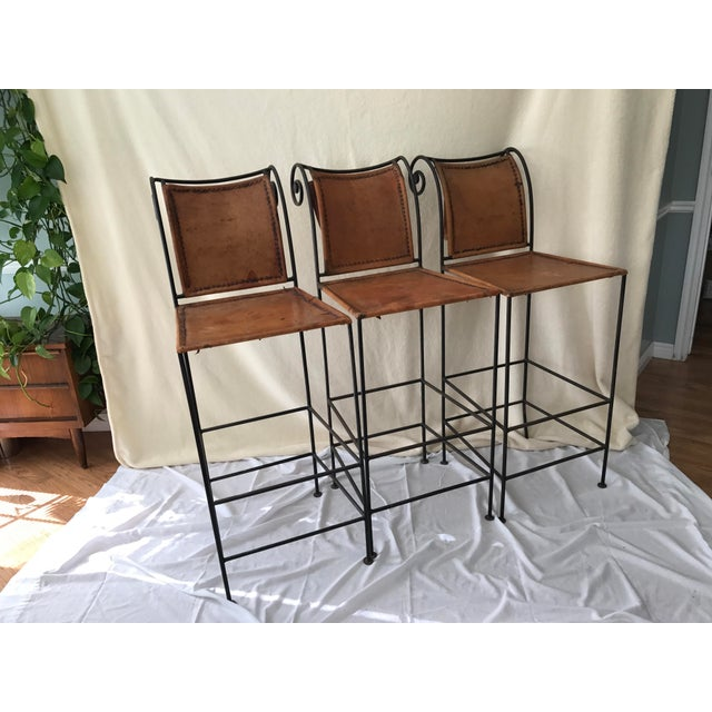 Scrolled Iron & Leather Bar Stools - Set of 3 - Image 2 of 11
