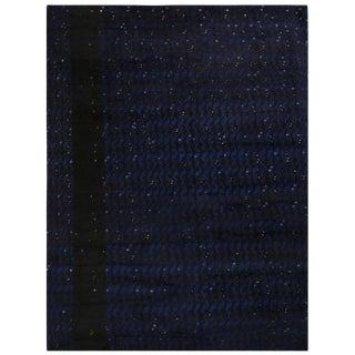 Rug & Kilim's Scandinavian-Inspired Geometric Black and Blue Wool Rug For Sale