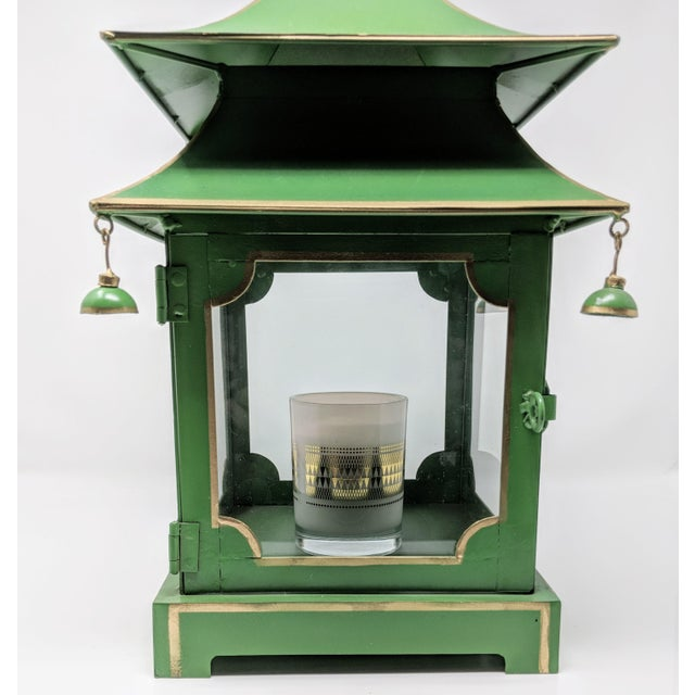 Asian Antiqued Two-Tier Green Tole Pagoda Lanterns - a Pair For Sale In Providence - Image 6 of 12