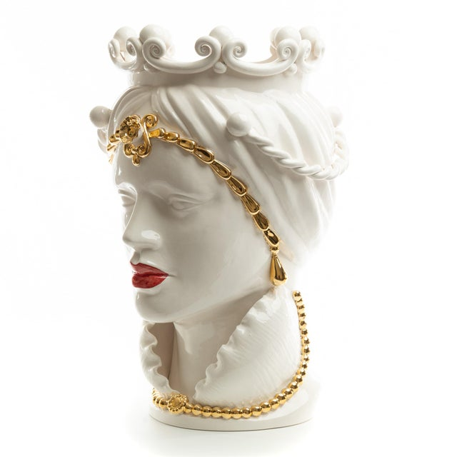DESCRIPTION Schittone Moorish Head is Gigante and is handmade and painted in Italy and adorned with a 24 karat gold...