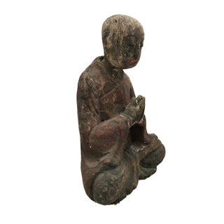 """Old Wooden Greeting Buddha 9"""" H Preview"""